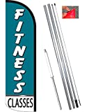 Vista Flags Fitness Classes Windless Feather Banner Flag Kit (Flag, Pole, Ground Mt)