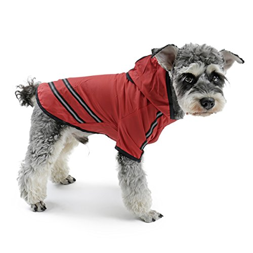 Speedy Pet Dog Hoodie Raincoat Jacket, Dog Rain Poncho Coat Outdoor Waterproof Apparel Clothes with Safe Reflective…