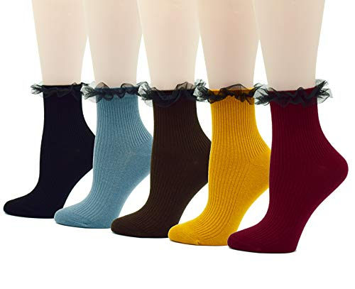 Fitu Women's Vintage Ruffle Frilly Cute Rayon Bamboo Boot Socks 5 Pairs Pack (839-3) ()