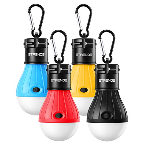 E-TRENDS Portable LED Camping Lights W Clip Hook, Battery Operated Tent Light for Camping, Hiking, Emergency, Outages and More (Multi Color)