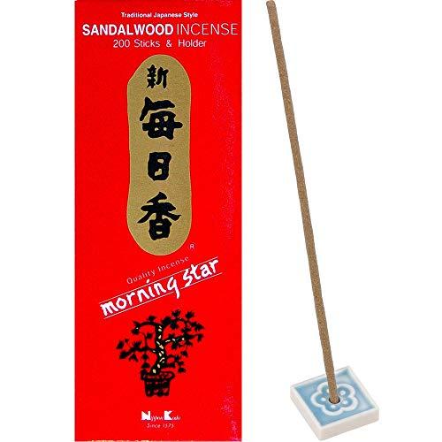 Morning Star Sandalwood Incense (200 Sticks and Holder) - 1 box