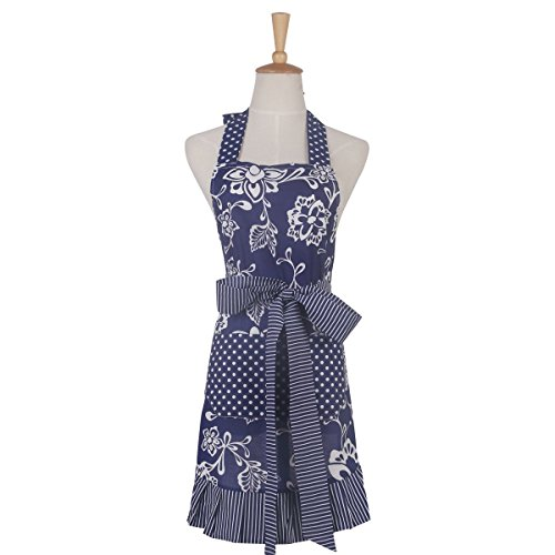 Floral Apron for Women with Pockets, Extra Long Ties, G2PLUS Vintage Apron, Perfect for Kitchen Cooking, Baking and Gardening, 29 x 21 - inch (Blue)