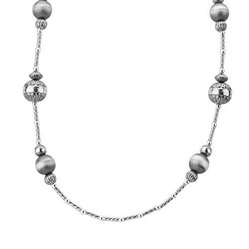 American West Sterling Silver Stamped Beaded Necklace by American West