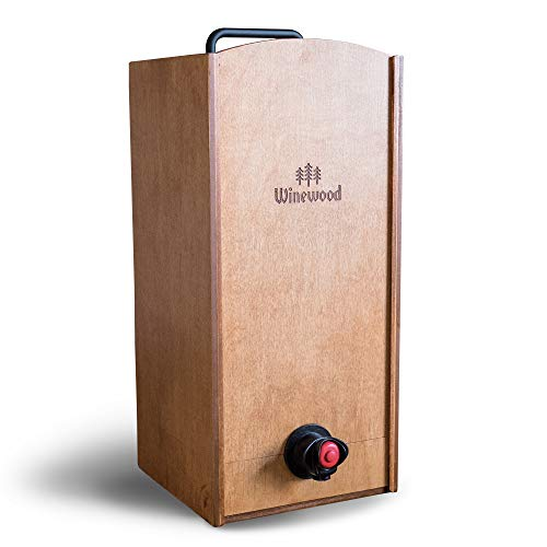 Wine Box Cover by Winewood   Fits 3 Liter Boxed Wine   Holder, Dispenser, Cover for Boxed Wine   Hazelnut Stain (Jewel Box Wine)