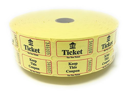 Yellow Double Raffle Ticket Roll-2000 Numbered Raffle Tickets-Carousel Design