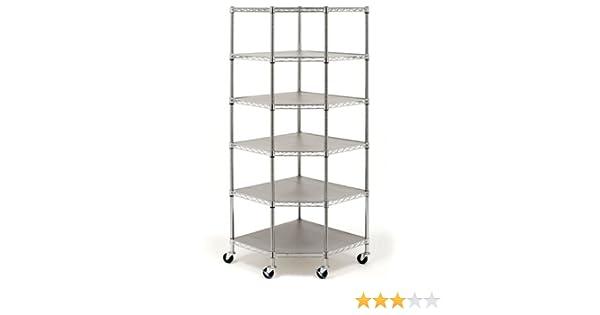 Adjustable 5 Tiers Steel Wire Corner Shelf Storage Rack Cart w//Wheels Heavy Duty