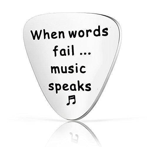 Zuo Bao Guitar Pick Gift, When Words Fail Music Speaks Guitar Pick, Gift for Musician (Guitar Pick)