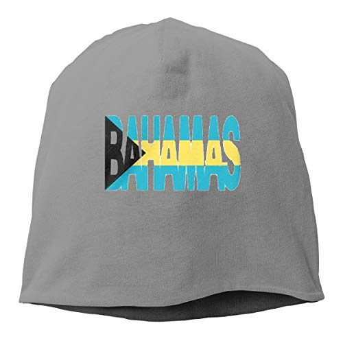 Justfacai Knitted Hat Bahamas Text Flag Unisex Hipster Beanie Caps for Outdoors Deep Heather ()