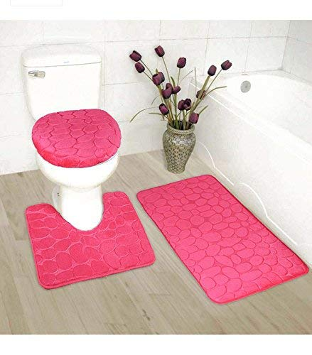 Luxury Home Collection 3 Piece Stone Embossed Solid Color Memory Foam Soft Bathroom Rug Set Non-Slip with Rubber Backing (Hot Pink) ()
