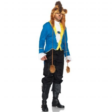Leg Avenue Disney 3Pc.Beast Jacket Neck Scarf and Furry Character Hood, Blue, X-Large (Disney Couples Costume)