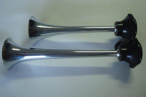 IP-3835 Universal Truck Tone Roof Mount Dual Air Horn -Trumpet Chromed Bell - Interchange ()