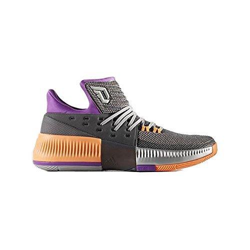 adidas Dame 3 Shoe Mens Basketball 11.5 Solid Grey-Shock Purple-Glow Orange