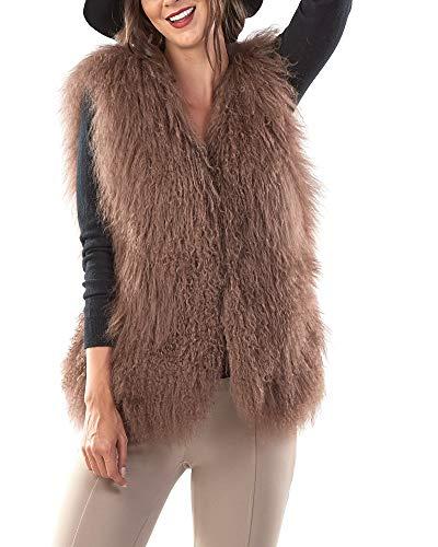 Mongolian Lamb Fur Vest in Brown - Large
