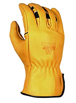BEAR KNUCKLES Double Wedge-Ultimate Grip-Ergonomic-Anti-fatigue Cowhide Leather Work Gloves