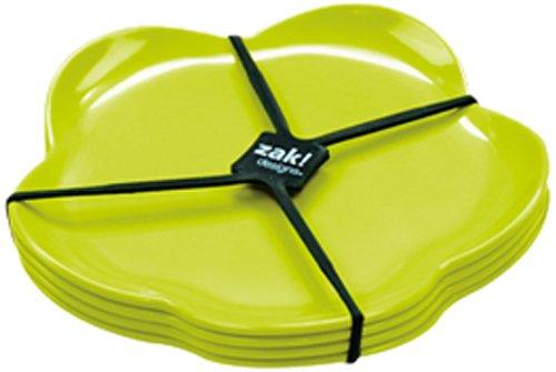 Zak ! Designs Sweety 0204-4550 - Juego de Platos de Postre (4 Unidades, 14 cm), Color Verde