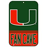 WinCraft Miami Hurricanes Official NCAA 11'' x 17'' Fan Cave Plastic Wall Sign 11x17 by 050496