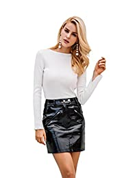 Simplee Women's Vintage Faux Leather PU Skirt High Waisted Bodycon Mini Skirt