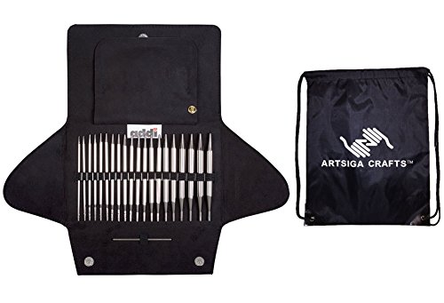 addi Click Interchangeable Basic Circular Knitting Needle Set bundled with 1 Artsiga Crafts Project Bag by Artsiga Crafts addi