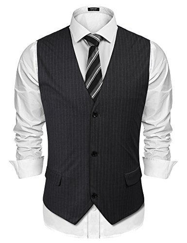 COOFANDY Mens Suit Vest Fashion Stripe Slim Fit Casual Business Waistcoat Jacket]()