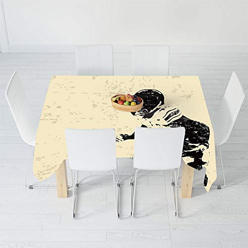 Fashionable Tablecloth,Sports,for Secretaire Square Table Office Table,84 X 60 Inch,Rugby Player in Action Running Success in