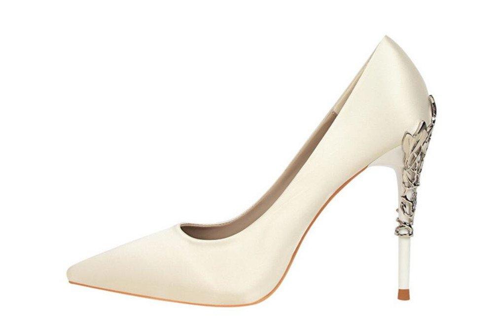 LUCKY ROAD Spitze Zehen Kitten Heels Stiletto Heel Damen Damen Damen Damen Mädchen Damen Court Schuhe Satin Sandalen Klassische Schuhe Weiß EU40 56c5ff