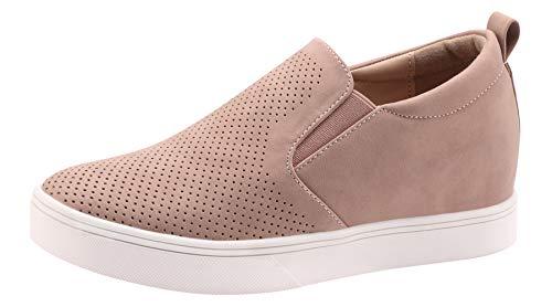 - Sofree Women's Slip On Wedge Platform Sneakers (11, Pink)