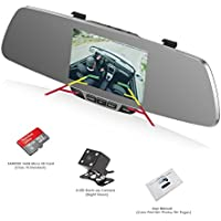 Dash Cam, OUMAX RV50HD-S Dual Lens Car Camera, SONY IMX323 EXMOR CMOS Image Sensor, 5.0 Inch HD Screen, Enhanced FHD1080P and Super Night Vision with 16G CLASS 10 Micro SD Included - Silver