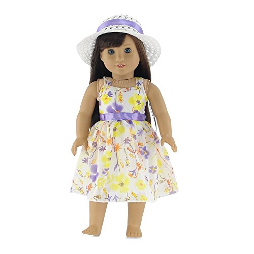 18 Inch Doll Clothes | Gorgeous Floral Spring Dress with Purple Trim, Including White Hat with Matching Ribbon | Fits 18
