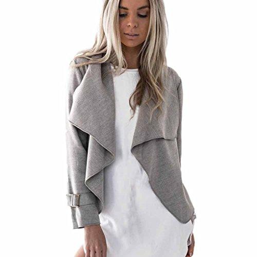 AIMTOPPY Womens Wool Long Sleeve Casual Tops Cardigan Waterfall Jackets Outwear (XL, Gray)