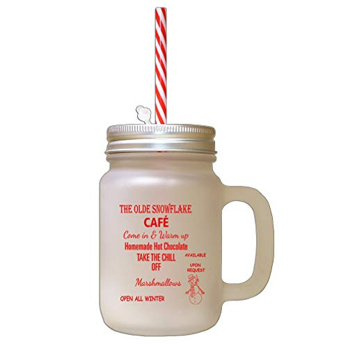 Red The Olde The Chill Off Snowflakes Frosted Glass Mason Jar With Straw ()