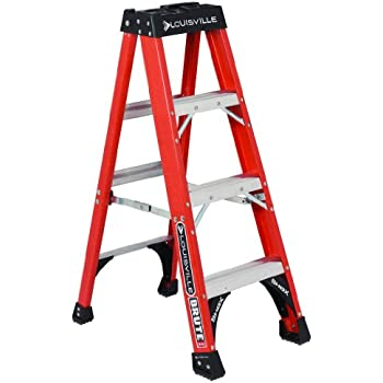 Louisville Ladder FS1404HD 375-Pound Duty Rating Fiberglass Step Ladder, 4-Feet