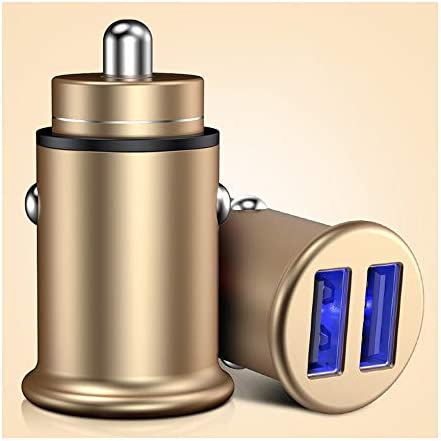 車の充電器、その他のiOSとAndroidスマートフォンのための技術を充電するスマートデバイス-適応と迅速なデュアルポートUSB車の充電器 (Color : Gold)