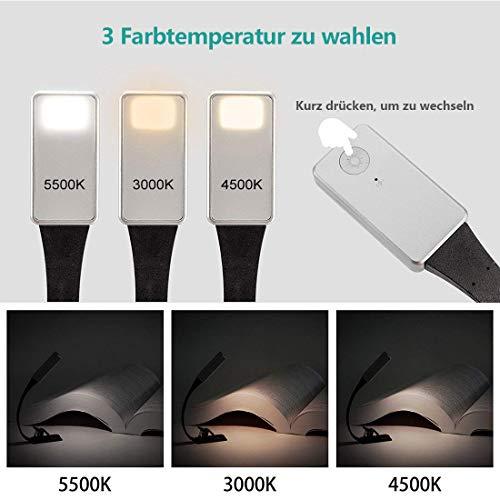 Opard Clip Light USB-Aufladbare Lampe Augenpflege Doppelt als Lesezeichen flexibel mit 4 Stufen dimmbar f/ür Buch ebook Lesen im Bett Schwarz 1 St/ück Kindle iPad