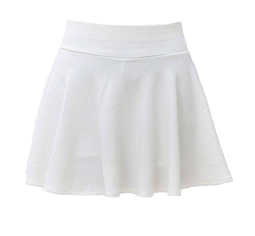 SEUEYD Womens Basic Skater Skirt Versatile Stretchy Flared Casual Skort White (Girls White Skort)