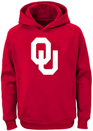 Outerstuff NCAA Youth 8-20 Team Color Performance Primary Logo Pullover Sweatshirt Hoodie (X-Large 18/20, Oklahoma Sooners)