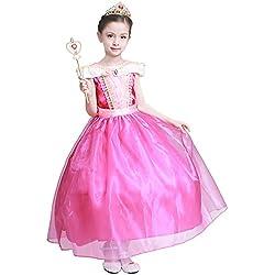 LOEL Girls New Princess Party Costume Aurora Long Dress, 130CM,130cm for 5-6 year,Pink