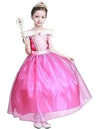 Girls New Princess Party Costume Aurora Long Dress