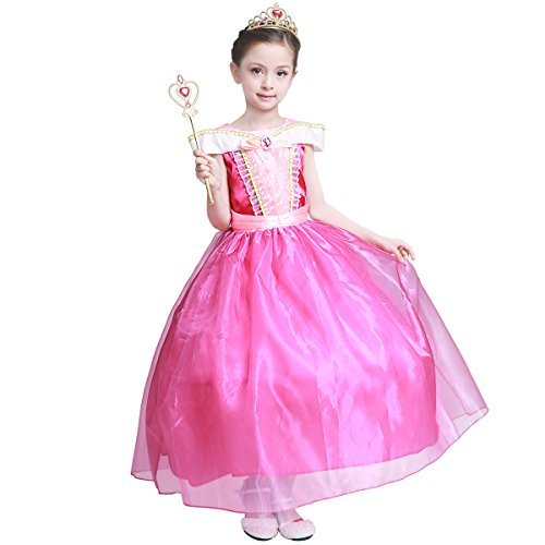 LOEL Girls New Princess Party Costume Aurora Long Dress, 140CM,140cm for 6-7 year,Pink ()