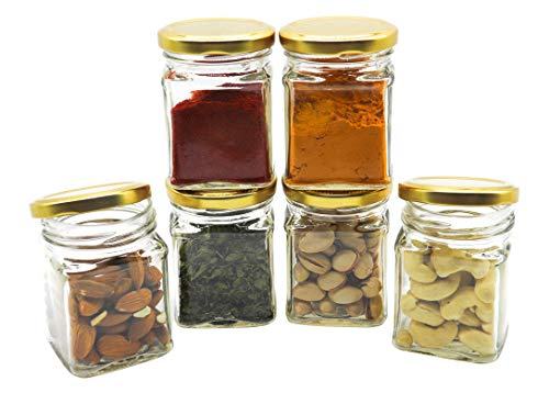 GLAZZURE – Strong & Durable 100grams Glass Jars and Containers with Airtight Gold Caps as Kitchen Organizer Items & Kitchen Accessories Items – Set of 6 Pcs