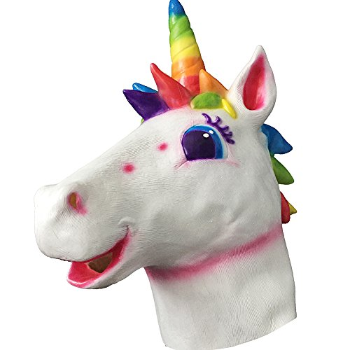 Halloween Costume Party Rainbow Unicorn Horse Head Mask,Latex Animal Cosplay Mask (Rainbow Unicorn) ()