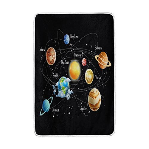 ALAZA Galaxy Solar System Blanket Lightweight Soft Warm Blanket Twin Size 60x90 inches for Bed Sofa Couch Office Home Decor by ALAZA