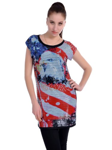 Anna Kaci Frauen Patriotic America USA Sequin Adler Short Sleeve Tunika Kleid