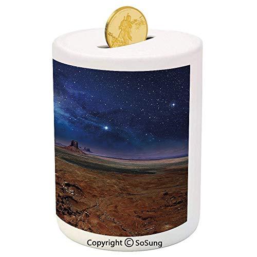 Night Sky Ceramic Piggy Bank,Nebula Starry Stars in Desert Monument Valley Utah Arizona USA Landscape Decorative 3D Printed Ceramic Coin Bank Money Box for Kids & Adults,Dark Blue and Brown