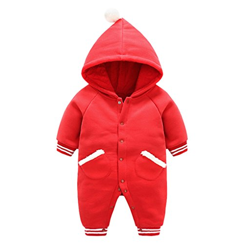 Baby Boys Girls Winter Hooded Snow Suit Rompers Ribbed Cuff One-Piece Jumpsuit Outerwear with Fur Slant Pockets Red Size 12M