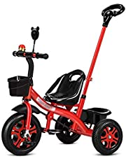 Trike Tricycle Trike 2-in-1 Push Along Trike with Parent Handle Tricycle,3-6 Year old Boys Girls Toddler Scooters Pushchairs,Rid-on Bike with Safety Harness Kids' Trikes Pedal Cars with High Back Supp