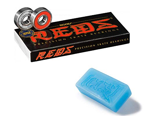 Bones Reds Skateboard Bearings 8 Pack with Blue CCS Skate Wax