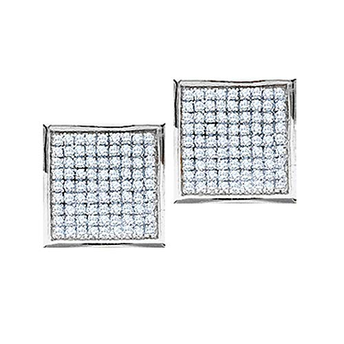 Roy Rose Jewelry 10K White Gold Womens Round Pave-set Diamond Square Cluster Earrings 3/8-Carat tw