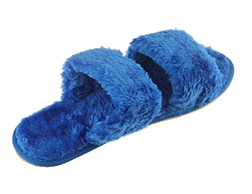 Holiberty Fashion Indoor Warm Fleece Slide On Slippers, Womens Ladies Girls Spa Flip Flop Furry Faux Fur Lined Soft Slides Open Toe Slip On Flat Mule Sandals Non-slip Plush Mules Home Bedroom Slipper  Blue