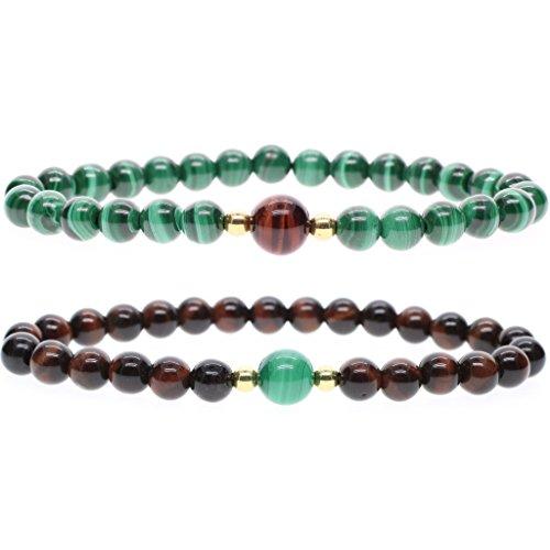 AmorWing 2 Packs Red Tiger Eye Malachite Stone Beaded Sister Bracelets