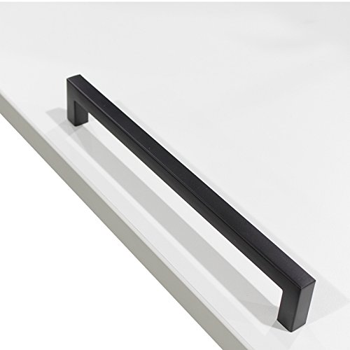 30 pack Probrico Black Stainless Steel Square Corner Bar Cabinet Door Handles Drawer Pulls Knobs 1/2 in Width Hole Centers 8-4/5 inch 224mm by Probrico (Image #8)